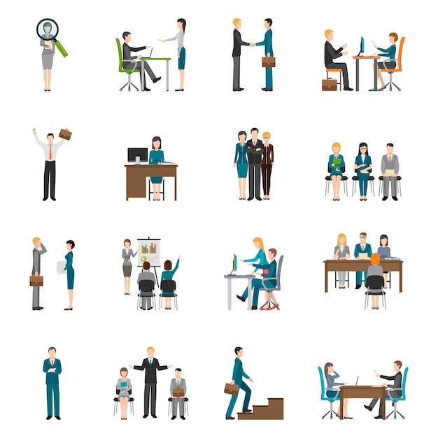 Reclutamiento hr personas icons set vector gratuito