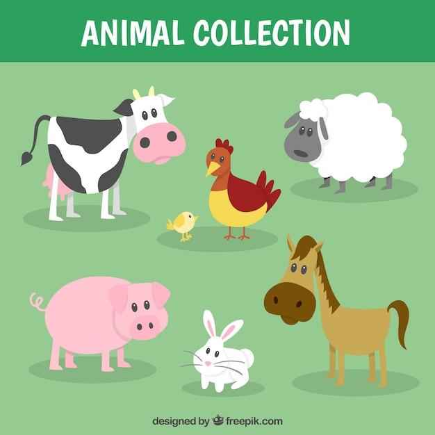 Recogida de animales de granja divertida vector gratuito