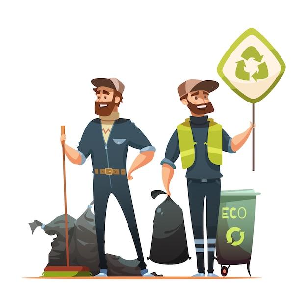 Recogida de residuos y basura ecológicamente responsables. vector gratuito