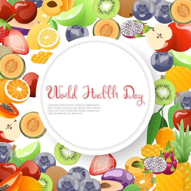 Recolección de frutas para el día mundial de la salud. Vector Premium
