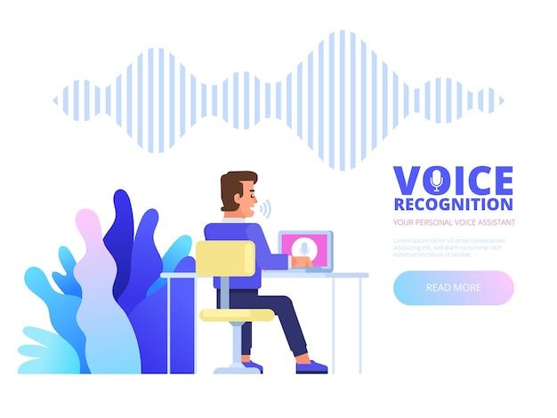 Reconocimiento de voz. concepto de tecnología de ondas sonoras de reconocimiento de asistente personal de voz inteligente. ilustración Vector Premium