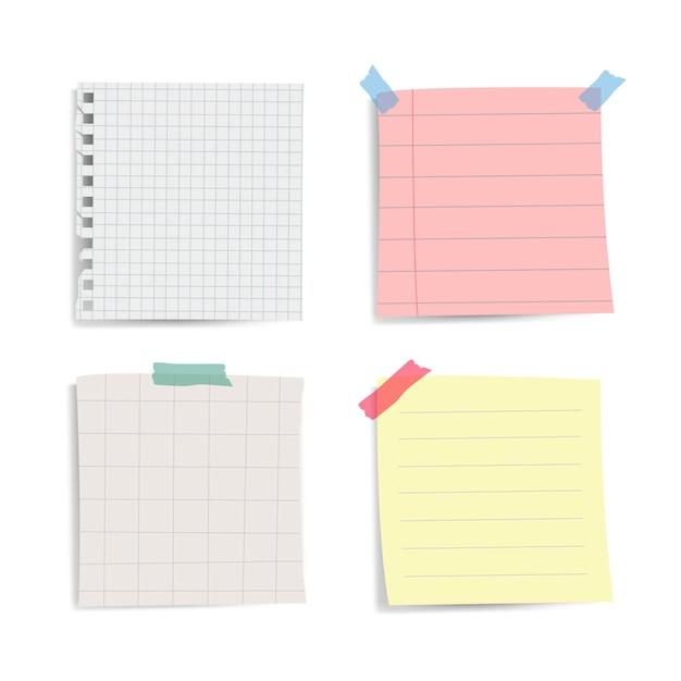 Recordatorio en blanco notas de papel conjunto de vectores vector gratuito