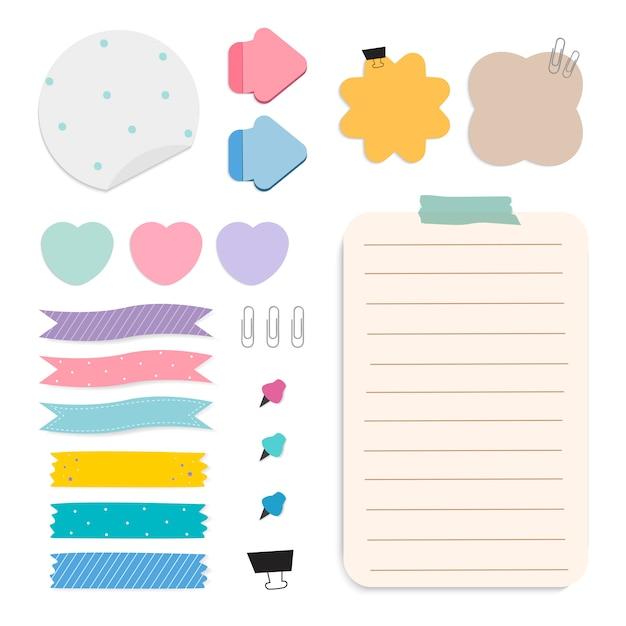Recordatorio colorido conjunto de vectores de notas de papel vector gratuito