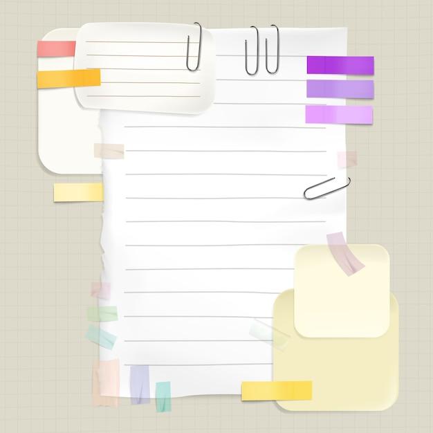 Recordatorios y notas de mensaje ilustración de pegatinas de memo y páginas de papel para la lista de tareas pendientes vector gratuito