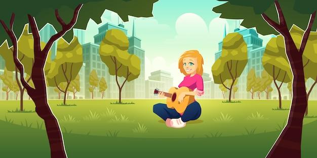 Recreación y disfrute de pasatiempo musical en metrópolis moderna de dibujos animados vector gratuito