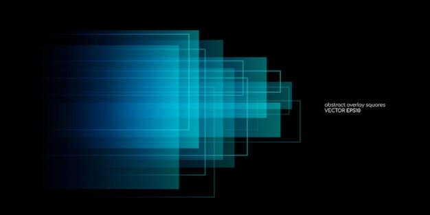 El rectángulo abstracto forma la superposición transparente en colores azul y verde sobre fondo negro. Vector Premium