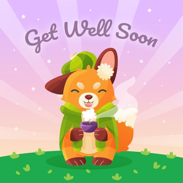 Recupérate pronto con fox vector gratuito
