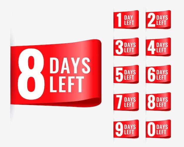 Red days left label ribbon design vector gratuito