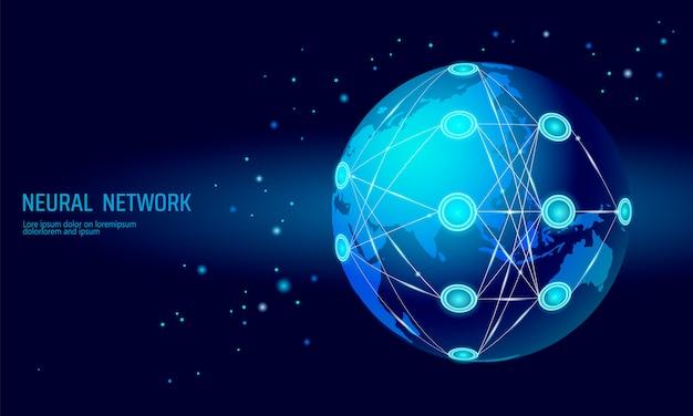 Red internacional neuronal, red global de neuronas, aprendizaje cognitivo profundo Vector Premium