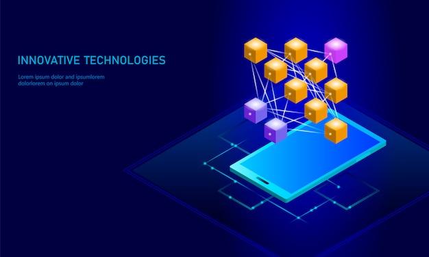 Red neuronal de aprendizaje profundo celular teléfono inteligente Vector Premium