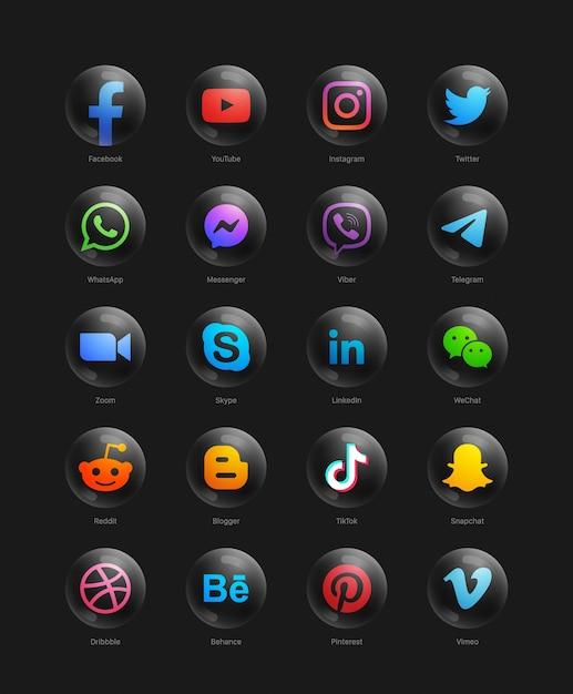 Red de redes sociales populares iconos web negros redondos 3d modernos Vector Premium