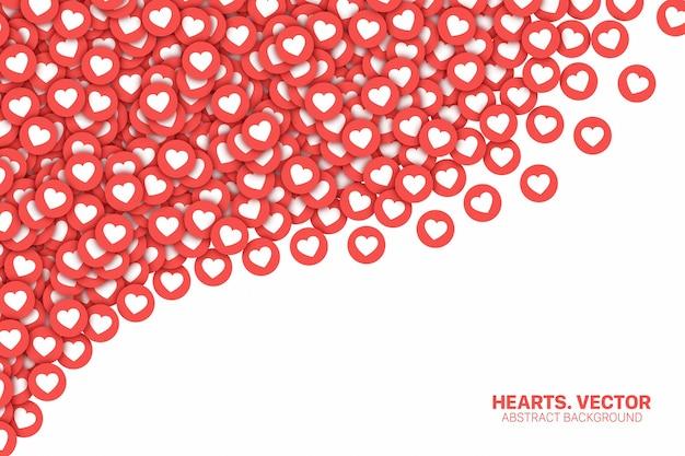 Red social instagram corazones cayendo red flat icons 3d Vector Premium
