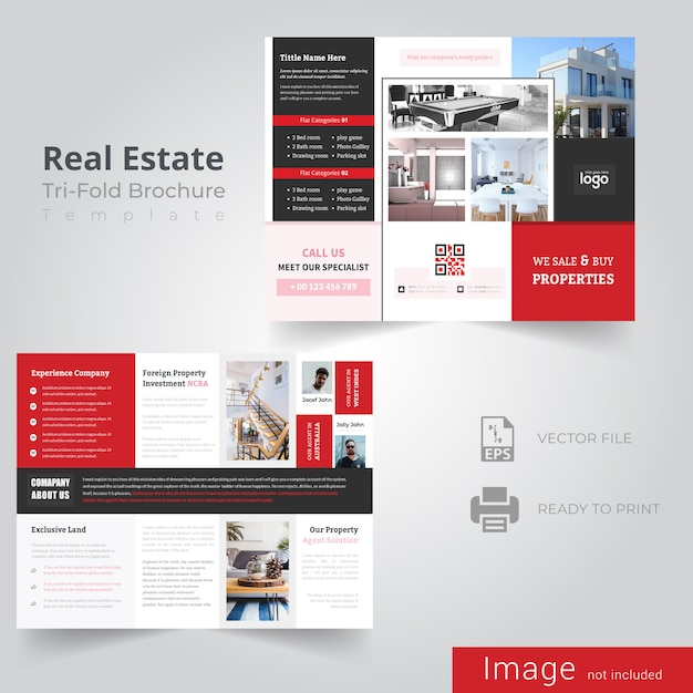 Red tri fold brochure design para real estate company Vector Premium