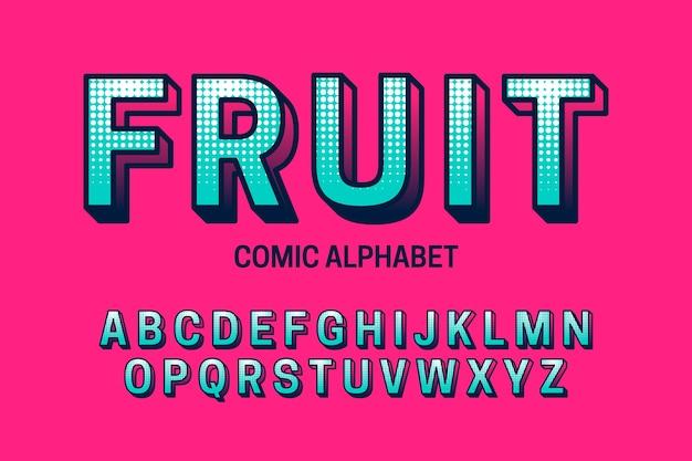 Redacción alfabética de la a a la z en diseño cómico 3d vector gratuito