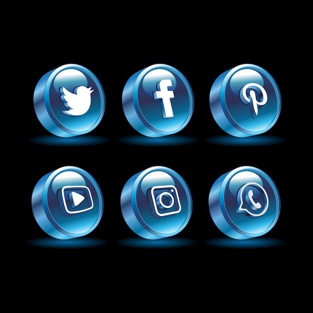 Redes sociales 3d color azul Vector Premium