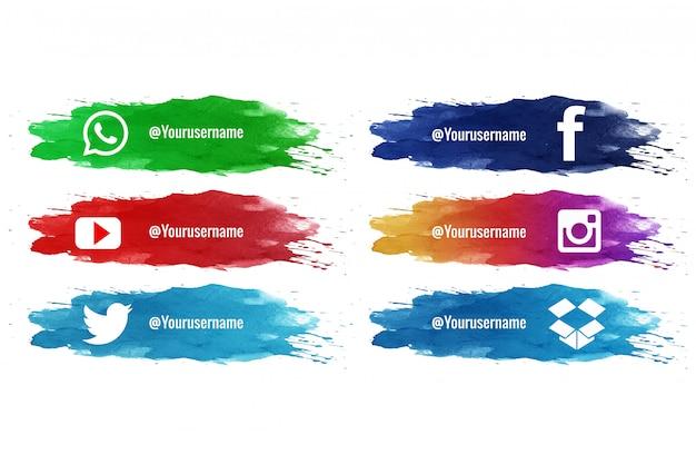 Las redes sociales bajan la tercera colección de acuarela splash vector gratuito