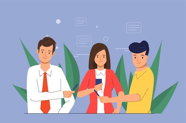 Redes sociales chateando en grupo para personas en teléfonos inteligentes. Vector Premium