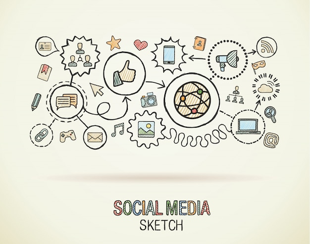 Las redes sociales dibujan a mano iconos integrados en papel. dibujo colorido ilustración infográfica. pictograma de doodle conectado, internet, digital, marketing, red, concepto interactivo global Vector Premium