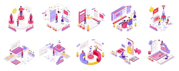 Redes sociales y marketing digital isométrico Vector Premium