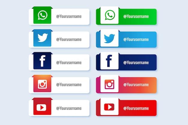 Las redes sociales modernas bajan la tercera colección de banners vector gratuito