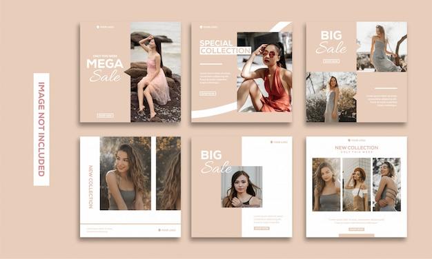 Redes sociales publicación plantilla colección instagram moda hermosa Vector Premium