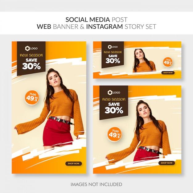 Redes sociales publican banner web y conjunto de historias de instagram Vector Premium