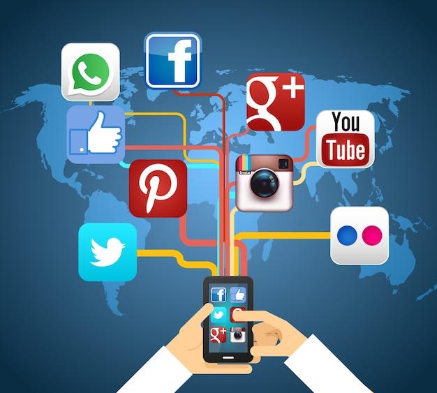 Redes sociales en smartphone en la ilustración de vector de mapa vector gratuito