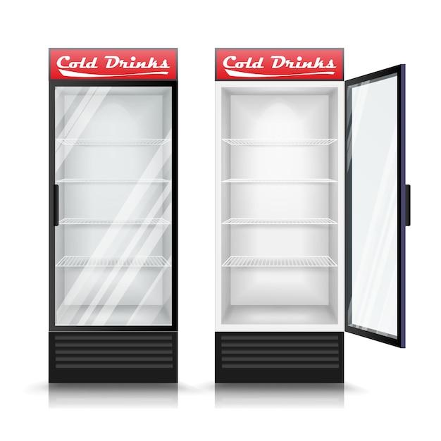 Refrigerador realista 3d Vector Premium