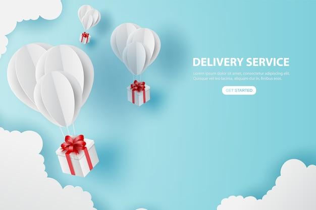 El regalo del día de fiesta de los globos vuela en el cielo azul del aire. Vector Premium
