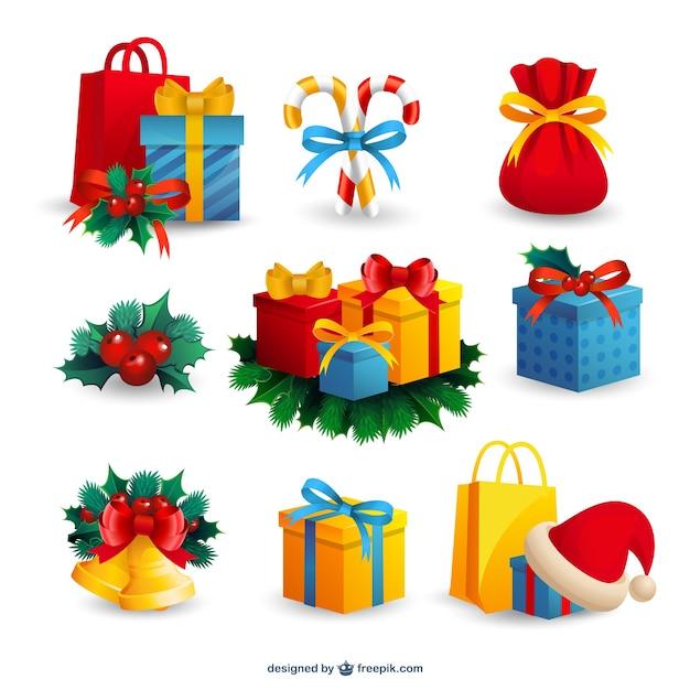 regalos de navidad y adornos vector gratis