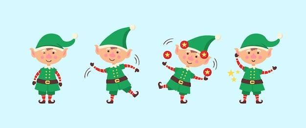 Regalos de embalaje elfo sonriente. colección de elfos navideños aislados sobre fondo blanco. ayudante divertido y alegre santa enviando regalos navideños y decoración del árbol de navidad. Vector Premium