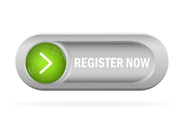 Regístrese ahora para la publicidad web. botón de suscripción. moderno. Vector Premium