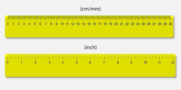 Reglas amarillas, marcadas en centímetros y pulgadas. Vector Premium