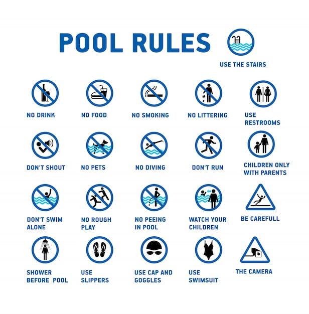 Reglas de la piscina conjunto de iconos y símbolo para piscina. vector gratuito