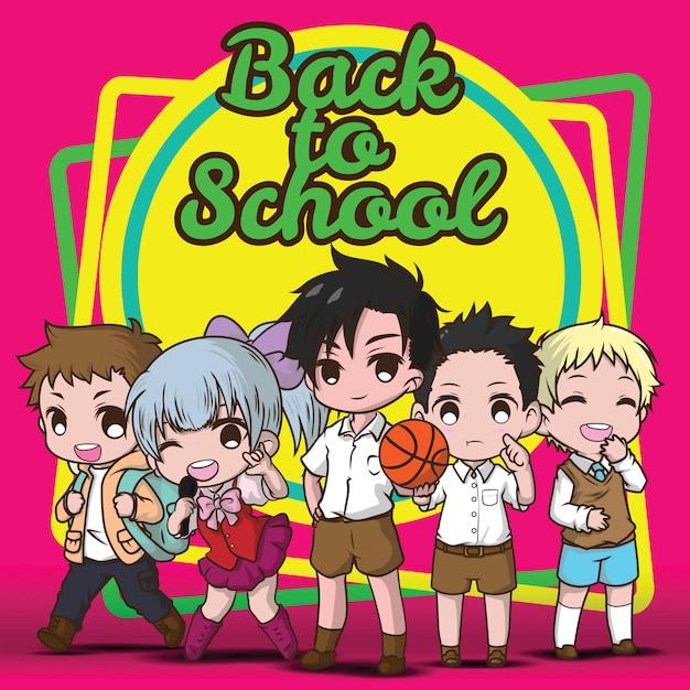 Regreso a la escuela., concepto de dibujos animados de niños lindos. Vector Premium