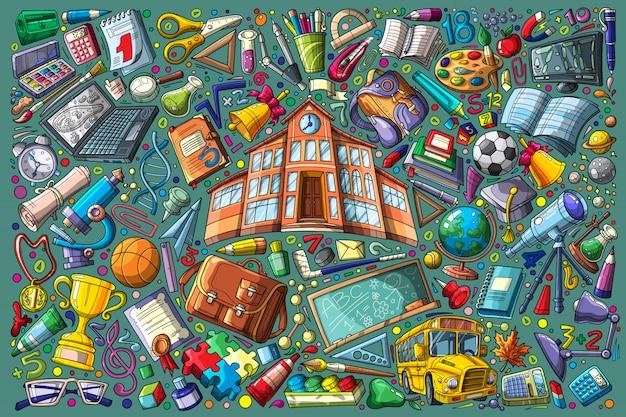 Regreso a la escuela doodle conjunto ilustración vectorial Vector Premium