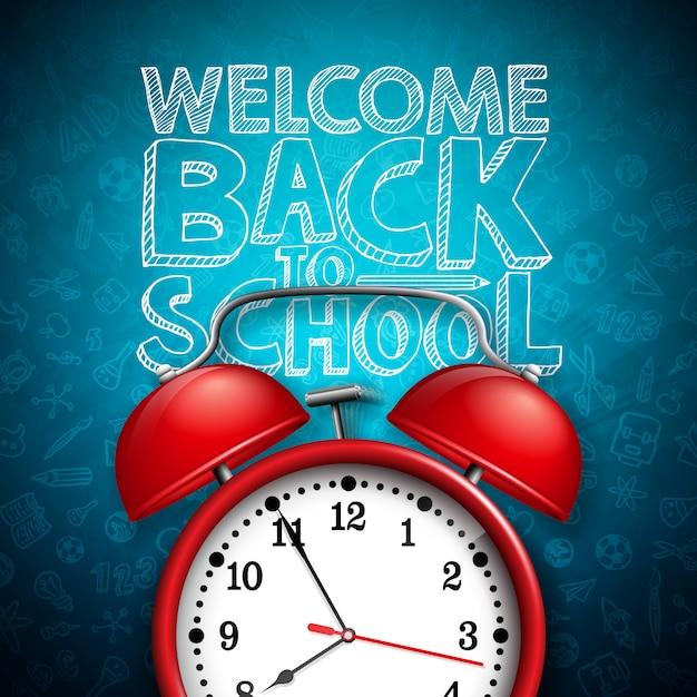 Regreso a la escuela letras con reloj despertador rojo y tipografía en pizarra oscura Vector Premium