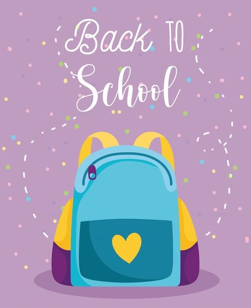 Regreso a la escuela, mochila de dibujos animados de educación primaria Vector Premium
