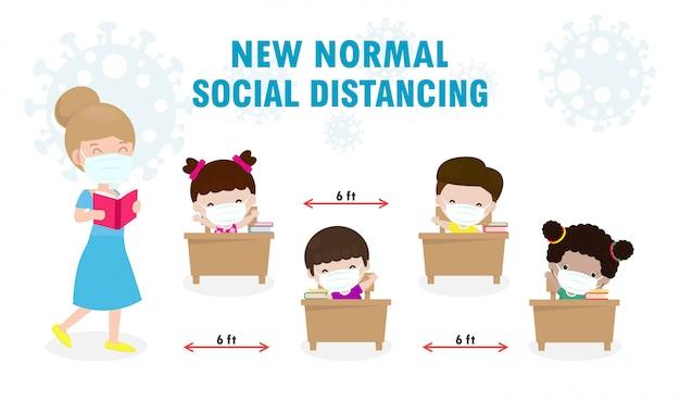 Regreso a la escuela para un nuevo concepto de estilo de vida normal. estudiantes felices, niños y maestros con mascarilla Vector Premium