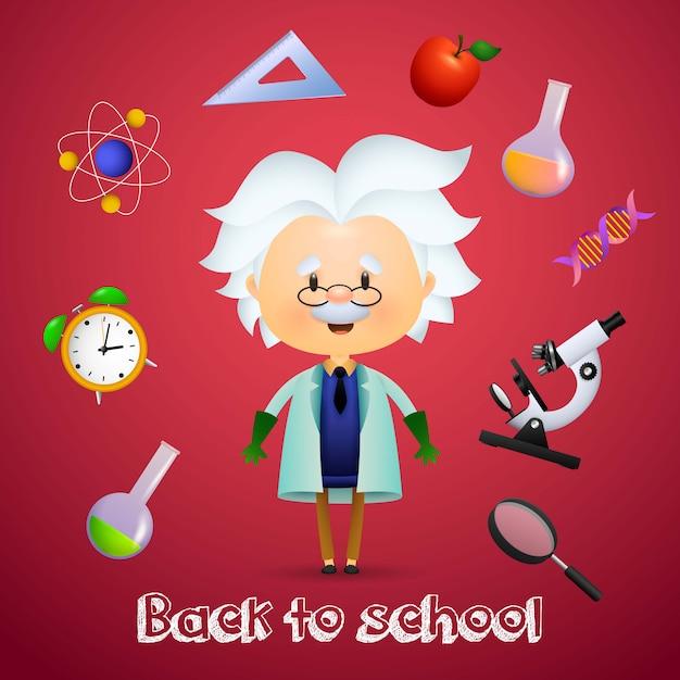 Regreso a la escuela con el personaje de dibujos animados albert einstein vector gratuito
