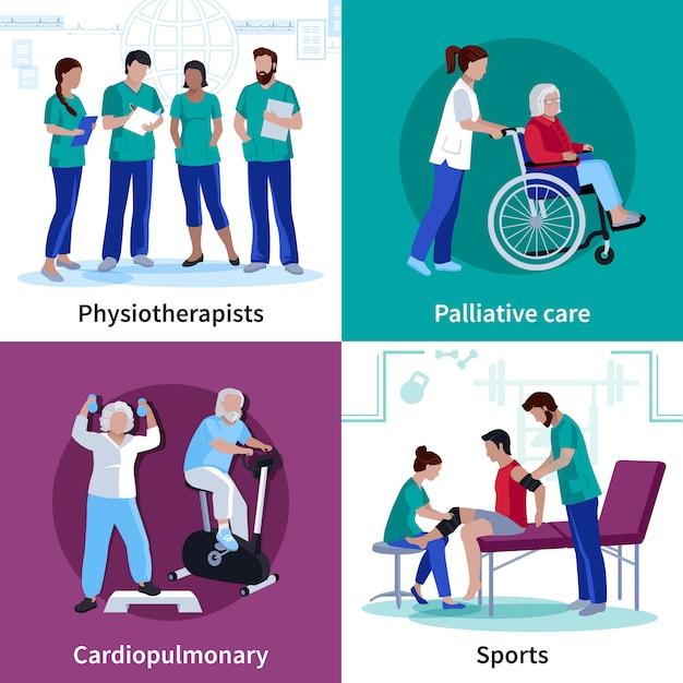 Rehabilitación de fisioterapia 4 iconos planos cuadrados vector gratuito