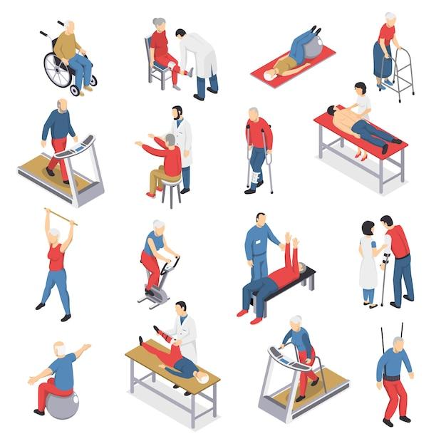 Rehabilitación fisioterapia conjunto de iconos isométricos vector gratuito