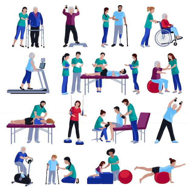 Rehabilitación de fisioterapia personas colección de iconos planos vector gratuito