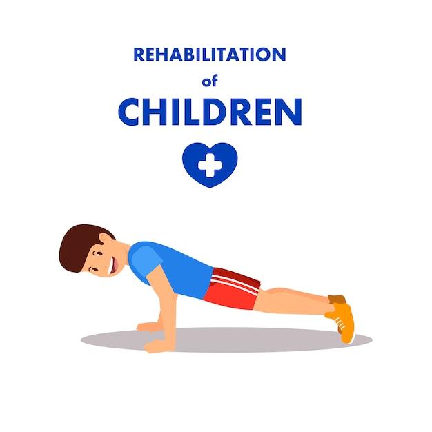 Rehabilitación infantil por fisioterapia y deporte. Vector Premium