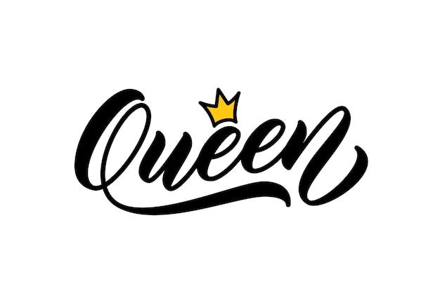 Reina palabra escrita a mano. caligrafía moderna. diseño de letras a mano para imprimir en ropa. reina palabra con corona. Vector Premium