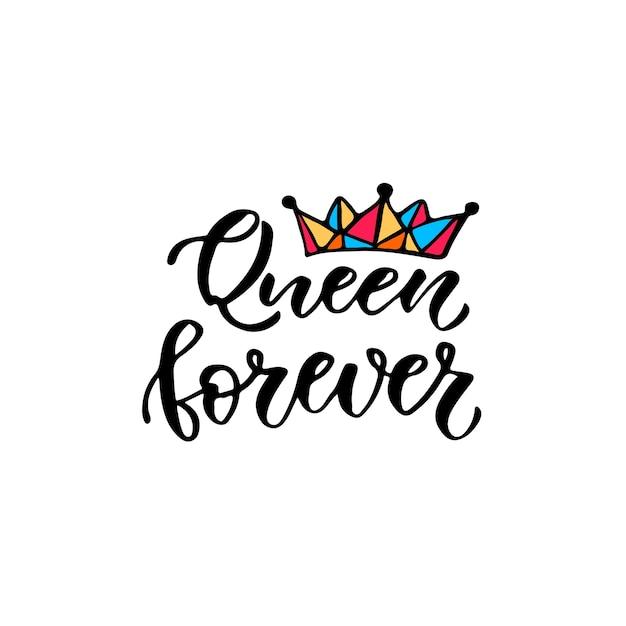 Reina para siempre impresi n de moda caligr fica letras for Letras gijon jardines de la reina