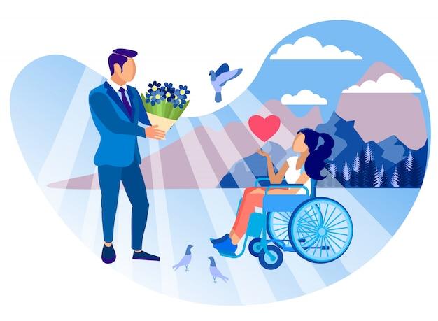 Relación con la niña con discapacidad de dibujos animados plana. Vector Premium