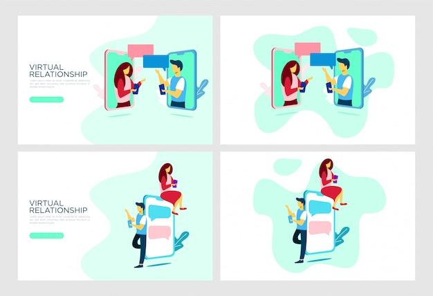 Relación plana ilustración móvil Vector Premium