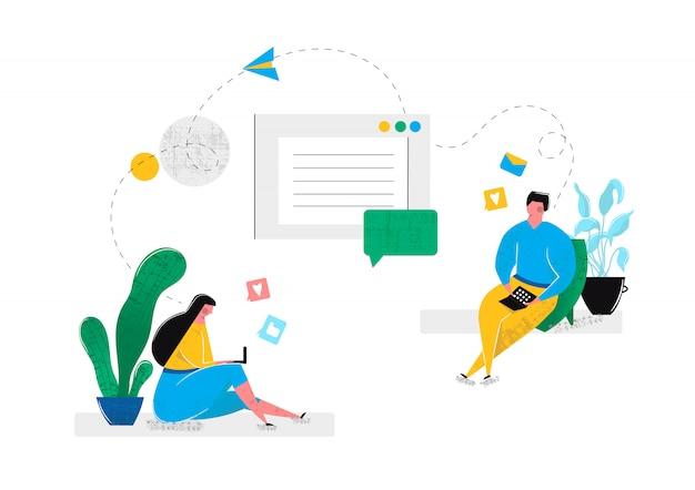 Relaciones virtuales en línea saliendo en redes sociales salas de chat en internet. el hombre y la mujer se comunican en la computadora portátil con los demás sentados en casa. internet realidad virtual. ilustración vectorial vector gratuito