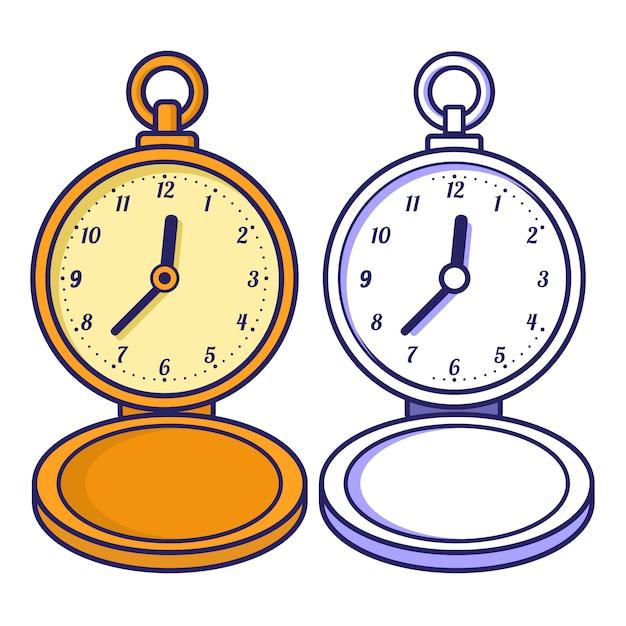 Reloj De Bolsillo Libro Para Colorear Para Niños Vector Premium